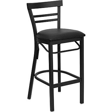 Flash Furniture – Tabouret de bar/restaurant Hercules en métal noir, dossier à traverses horizontales, siège en vinyle noir