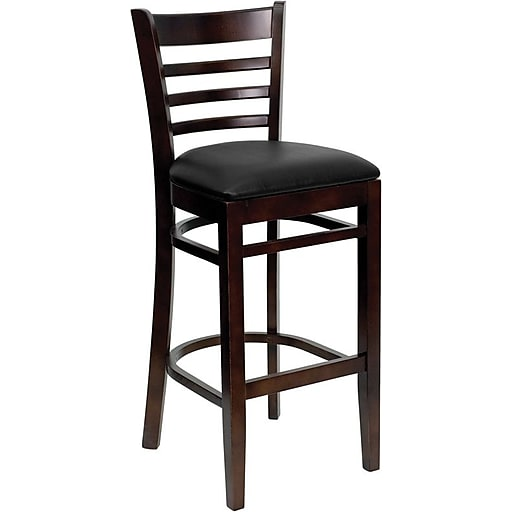 Flash Furniture HERCULES Series Walnut Wood Ladder Back Restaurant Bar Stool, Black Vinyl Seat