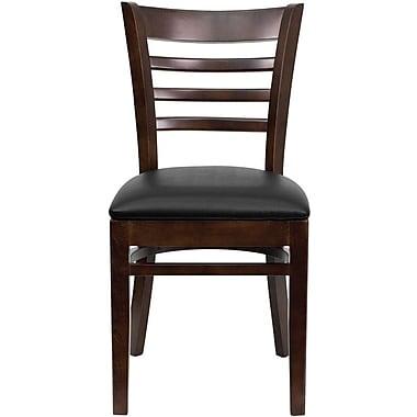 Flash Furniture Hercules Series Walnut Wood Ladder Back Restaurant Chair, Black Vinyl Seat, 2/Pack