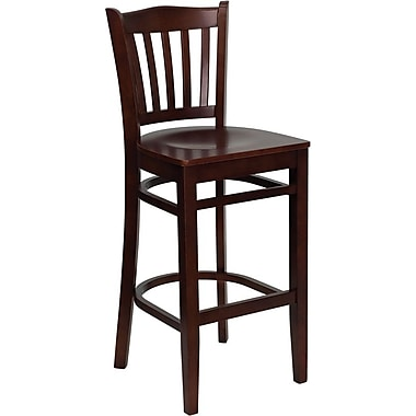 Flash Furniture Hercules Series, Mahogany Wood Vertical Slat Back Restaurant Bar Stool
