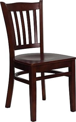 Flash Furniture HERCULES Series Mahogany Wood Vertical Slat Back Restaurant Chair, 2/Pack