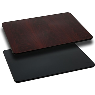 Flash Furniture 30'' x 42'' Rectangular Reversible Laminate Table Top, Black or Mahogany