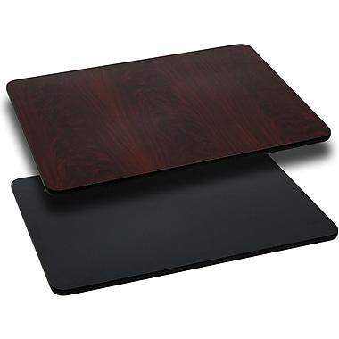 Flash Furniture – Dessus de table laminé rectangulaire, réversible, 30 x 48 po, noir ou acajou
