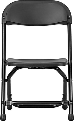 Flash Furniture Kids Plastic Armless Folding Chair, Black, 40/Pack