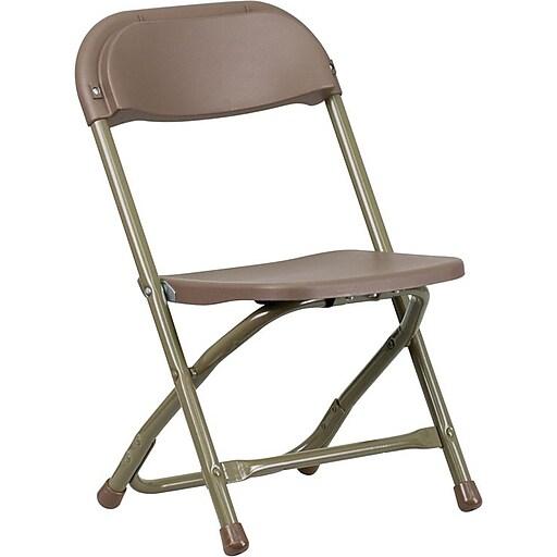 Flash Furniture Kids Plastic Armless Folding Chair, Brown, 10/Pack