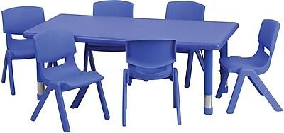 //.staples-3p.com/s7/is/  sc 1 st  Staples & Flash Furniture 24u0027u0027W x 48u0027u0027L Adjustable Rectangular Plastic ...