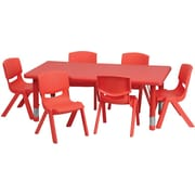 Flash Furniture 24''W x 48''L Adjustable Rectangular Plastic Activity Table Set with 6 School Stack Chairs, Red