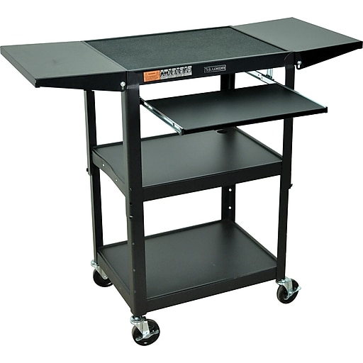 Luxor® Steel Adjustable Height AV Cart W/Keyboard & Drop Leaf Shelves, Black