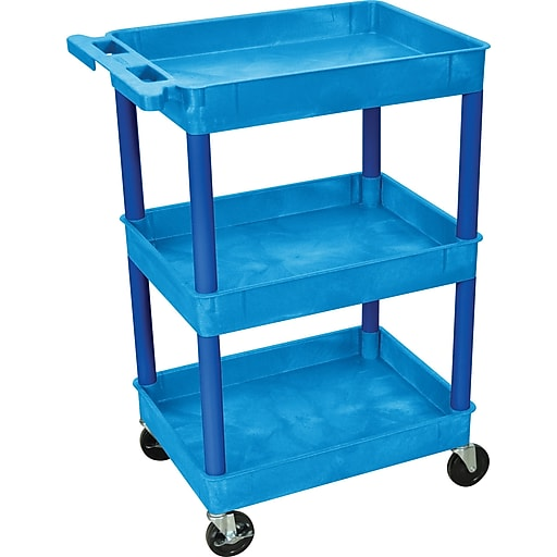 "Luxor STC Series 36 1/2""H 3 Shelves Tub Cart, Blue"
