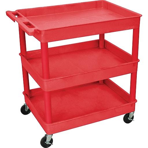 "Luxor TC Series 37 1/4""H 3 Shelves Large Tub Cart, Red"