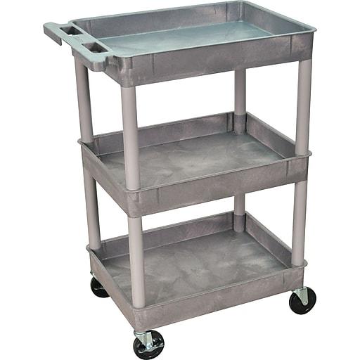 "Luxor STC Series 36 1/2""H 3 Shelves Tub Cart, Gray"