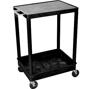 Luxor® STC Series 2 Shelves Flat Top & Tub Bottom Shelf Cart, Black