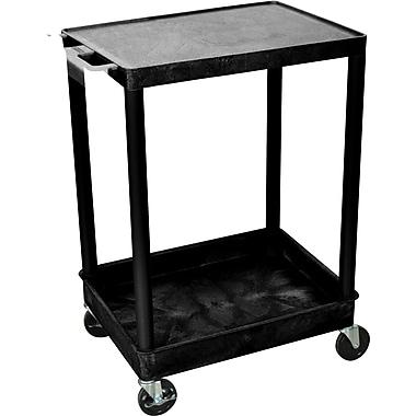 Luxor® STC Series 2 Shelves Flat Top & Tub Bottom Shelf Carts