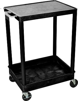 Luxor® STC Series 2 Shelves Flat Top & Tub Bottom Shelf Cart, Black