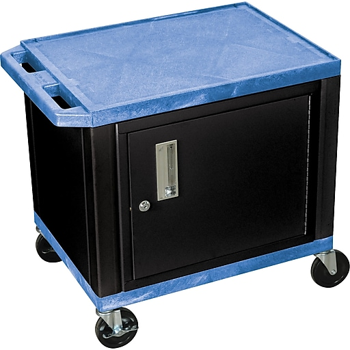 "H Wilson 26""H 2 Shelves Tuffy AV Cart W/Black Cabinet & Electrical Attachment, Blue"