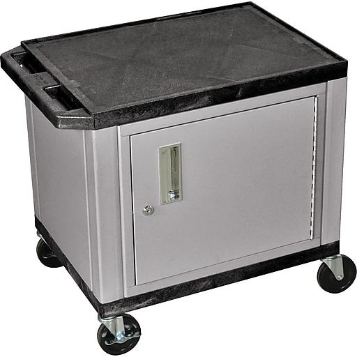 "H Wilson 26""H 2 Shelves Tuffy AV Carts W/Nickel Cabinet & Electrical Attachment, Black"