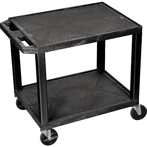 H Wilson® 2 Shelves Tuffy AV Cart W/Putty Legs & Electrical Attachment, Black