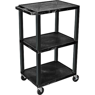 Luxor® H Wilson® 3 Shelves Tuffy AV Cart, Black