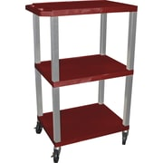 "H Wilson® 42""(H) 3 Shelves Tuffy Carts W/Nickel Legs, Burgundy"