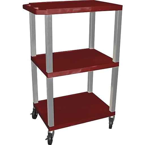 "H Wilson 42""H 3 Shelves Tuffy Carts W/Nickel Legs, Burgundy"