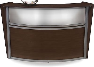 OFM Marque Single-Unit Plexi-Reception Station, Walnut
