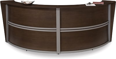 OFM Marque Double-Unit Reception Station, Walnut