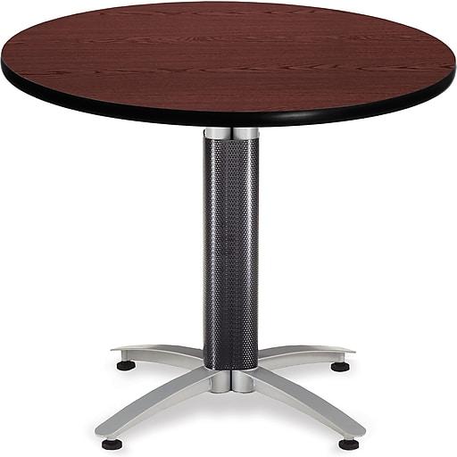 "OFM 29 1/2"" x 36"" x 36"" Round Laminate Metal Mesh Base Multi-Purpose Table, Mahogany (KMT36RD-MHGY)"