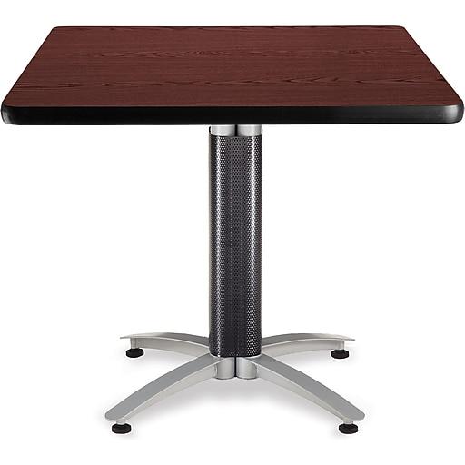 "OFM 29 1/2"" x 36"" x 36"" Square Laminate Metal Mesh Base Multi-Purpose Table, Mahogany (KMT36SQ-MHGY)"