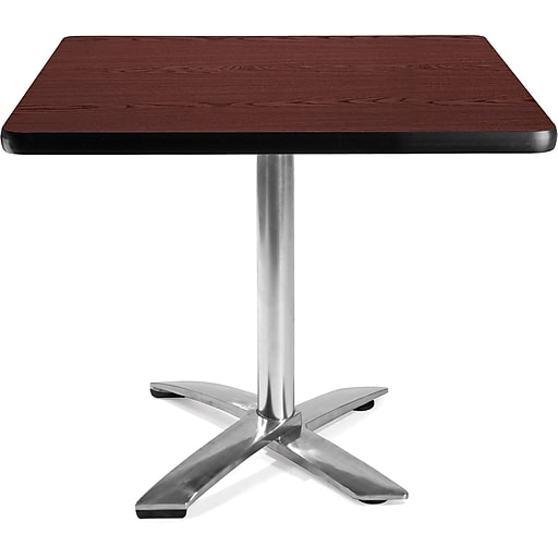 "OFM 29 1/2"" x 35 3/4"" x 35 3/4"" Square Laminate Flip-Top Multi-Purpose Table, Mahogany"