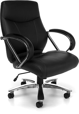OFM Avenger Big and Tall Leather Mid-Back Executive Chair, Black (811-LX-BLK)