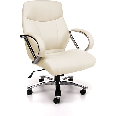 OFM Avenger Big and Tall Leather Mid-Back Executive Chair, Cream (845123023365)