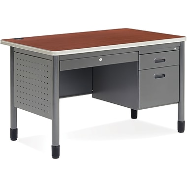 OFM Mesa Steel Single Pedestal Teacher's Desk, Cherry (845123009611)