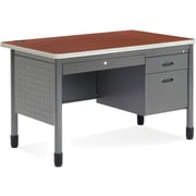 OFM Mesa Steel Single Pedestal Teacher's Desk, Cherry