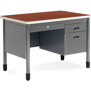 OFM Steel Single Pedestal Sales Desk, Cherry (845123009574)