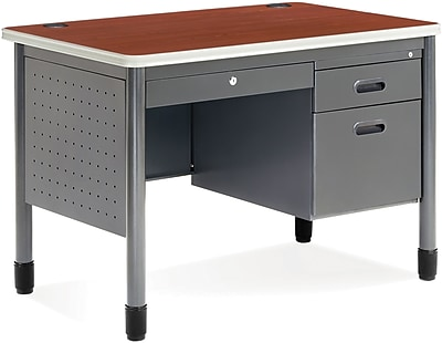 OFM Steel Single Pedestal Sales Desk, Cherry