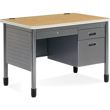 OFM Steel Single Pedestal Sales Desk, Oak (845123009581)
