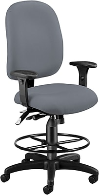 OFM Airflow Fabric Computer and Desk Office Chair, Adjustable Arms, Gray (125-DK-801)