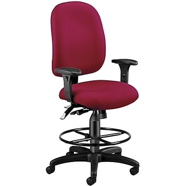 OFM 125-DK-803 AirFlo Polyester Task Chair and Drafting Kit with Adjustable Arms, Wine (845123025741)