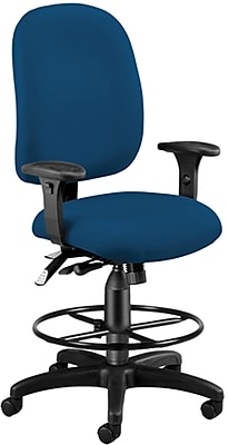 OFM Airflow Fabric Computer and Desk Office Chair, Adjustable Arms, Navy (125-DK-804)