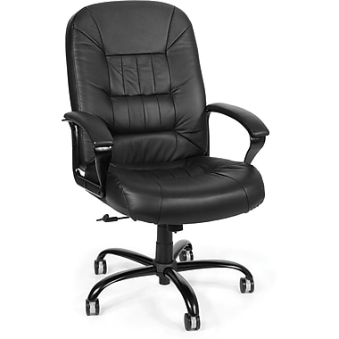 OFM Big and Tall Leather Mid-Back Executive Chair, Black