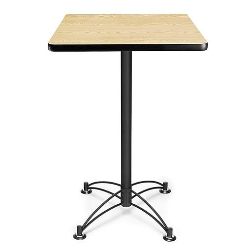 "OFM 41"" x 23 3/4"" x 23 3/4"" Square Laminate Black Base Cafe Height Table, Oak"