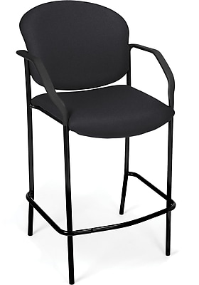 OFM Manor Fabric Cafe Height Chair With Arms, Black