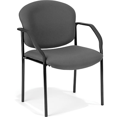 OFM Manor Steel Guest/Reception Chair, Fabric, Charcoal (811588013968)