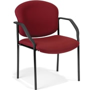 OFM Manor Steel Guest/Reception Chair, Fabric, Wine (404-803)