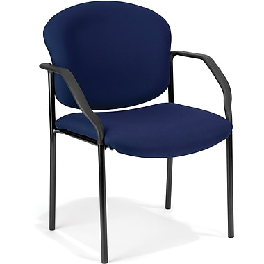 OFM Manor Steel Guest/Reception Chair, Fabric, Navy (811588014002)