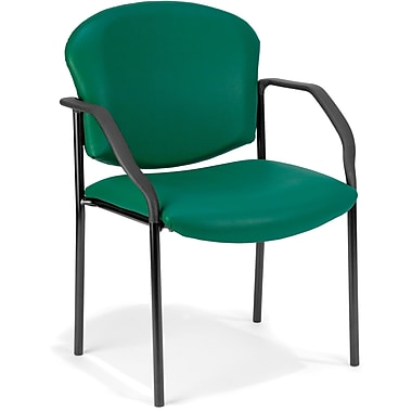 OFM Manor Steel Guest/Reception Chair, Vinyl, Teal (811588014026)
