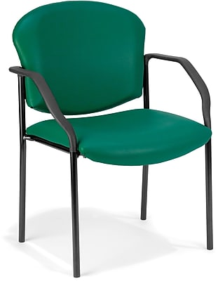OFM Manor Steel Guest/Reception Chair, Vinyl, Teal (404-VAM-602)
