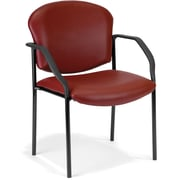 OFM Manor Steel Guest/Reception Chair, Vinyl, Wine (404-VAM-603)