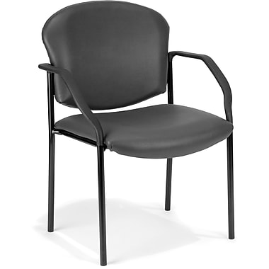 OFM Manor Steel Guest/Reception Chair, Vinyl, Charcoal (404-VAM-604)