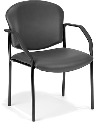 OFM Manor Series Model 404-VAM Guest and Reception Chair with Arms, Anti-Microbial/Anti-Bacterial Vinyl, Charcoal, (404-VAM-604)